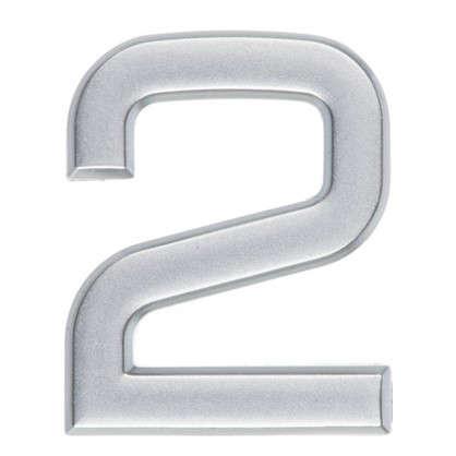 Цифра 2 самоклеящаяся 40х32 мм пластик цвет матовое серебро
