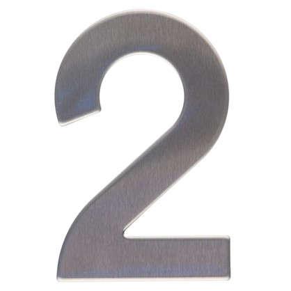 Цифра 2 самоклеящаяся 95х62 мм нержавеющая сталь цвет серебро