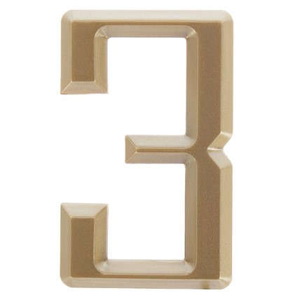Цифра 3 Larvij самоклеящаяся 60х37 мм пластик цвет матовое золото цена