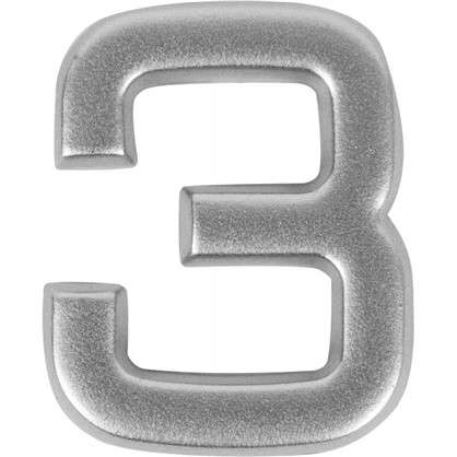 Цифра 3 самоклеящаяся 40х32 мм пластик цвет матовое серебро цена