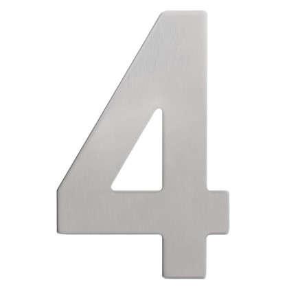 Цифра 4 самоклеящаяся 95х62 мм нержавеющая сталь цвет серебро