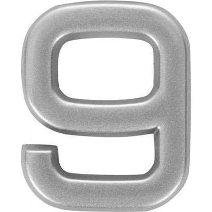 Цифра 9 самоклеящаяся 40х32 мм пластик цвет матовое серебро