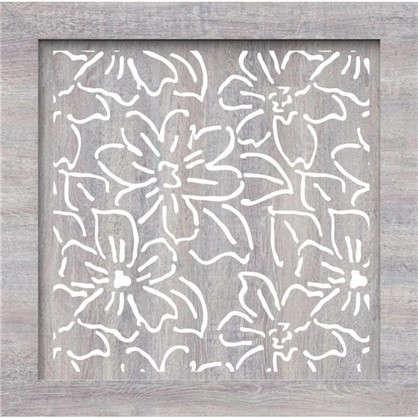 Экран для радиатора Цветы 60х60 см цвет дуб серый