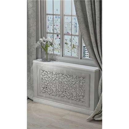 Экран для радиатора Цветы 90х60 см цвет дуб серый