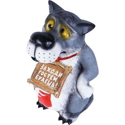 Садовая фигура Волк с табличкой в галстуке высота 60 см