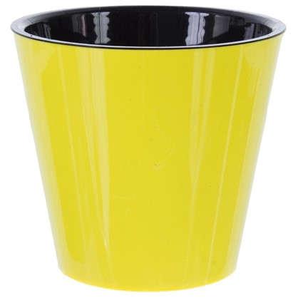 Горшок цветочный Фиджи жёлтый 1.6 л 160 мм пластик с поддоном