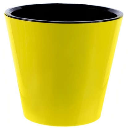 Горшок цветочный Фиджи жёлтый 16 л 330 мм пластик с поддоном