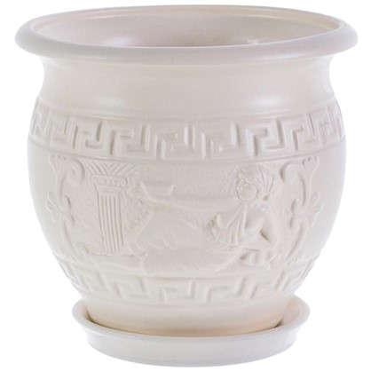Горшок цветочный Олимпия белый 1.8 л 160 мм керамика с поддоном