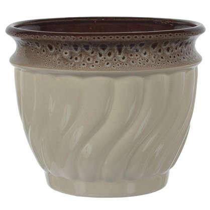 Горшок цветочный Танго бежевый 4.5 л 225 мм керамика с поддоном