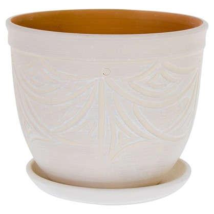 Горшок цветочный Узоры бежевый 4.2 л 185 мм керамика с поддоном цена