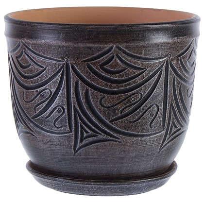Горшок цветочный Узоры серый 7.9 л 245 мм керамика с поддоном