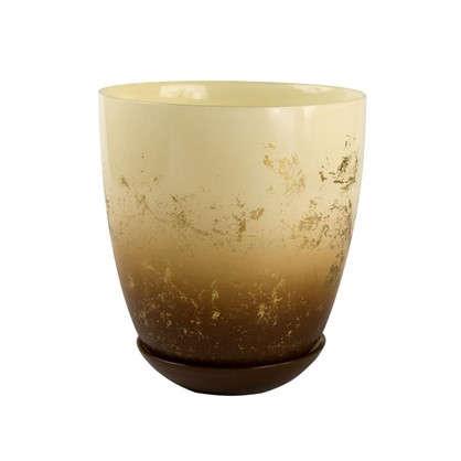 Горшок Современный 1 л 14.5 см стекло цвет прозрачный кремовый