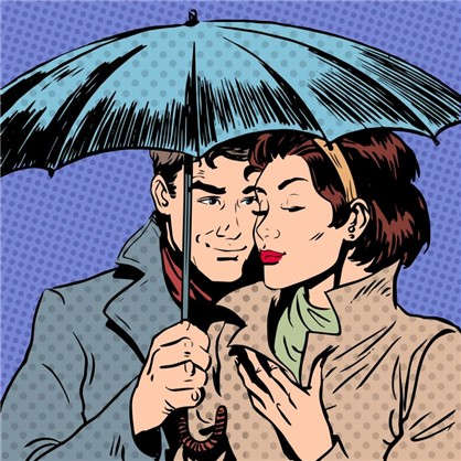 Холст 30х30 см Пара под зонтом цена