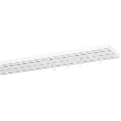 Карниз пластиковый трехрядный Inspire в наборе 200 см пластик цвет белый цена