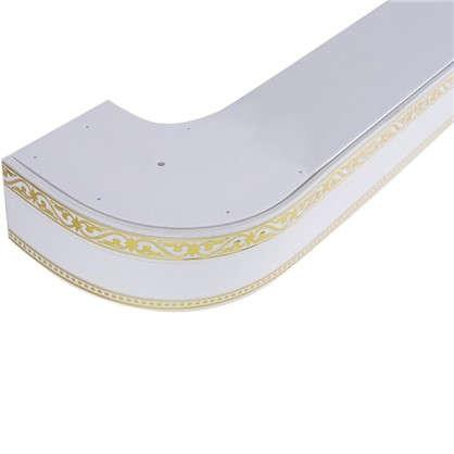 Карниз шинный трехрядный Монарх в наборе 200 см пластик цвет белый глянец цена