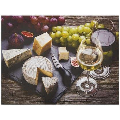 Картина на холсте 40х50 см Сыр и вино цена