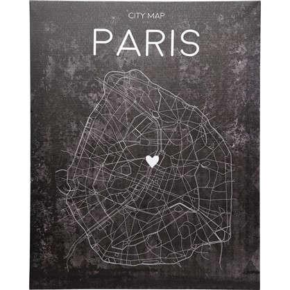 Картина на холсте Карта Парижа 40х50 см