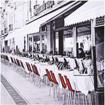 Картина на холсте Улица с красными стульями 30х30 см цена