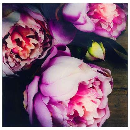 Картина на стекле 30х30 см Цветы пионы цена