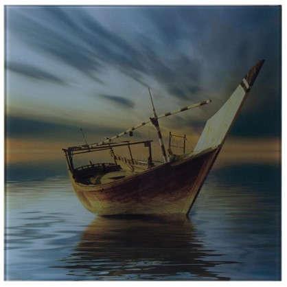 Картина на стекле 30х30 см Вечер лодка
