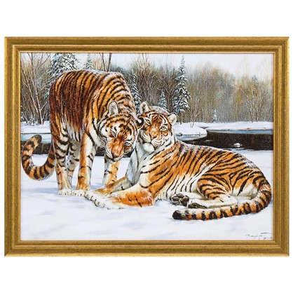 Картина в раме Амурские тигры 30х40 см цена