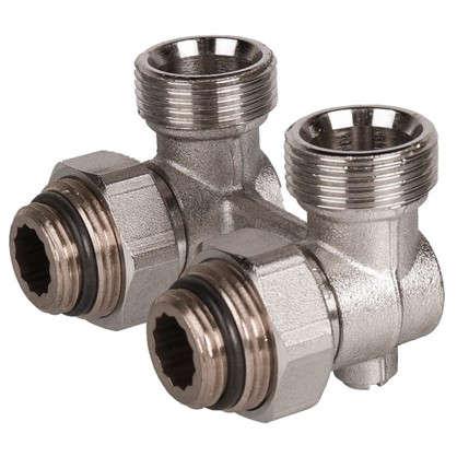 Клапан для радиатора запорный угловой Н-образный РОСТерм для двухтрубной системы отопления 1/2 дюйма цена