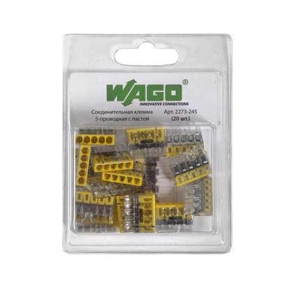 Клемма соединительная Wago 5 разъёмов под провода с пастой 22х5.8х16.7 мм поликарбонат 20 шт. цена