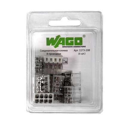 Клемма Wago 8 разъемов под провода 18х10.4х16.7 мм поликарбонат 6 шт.