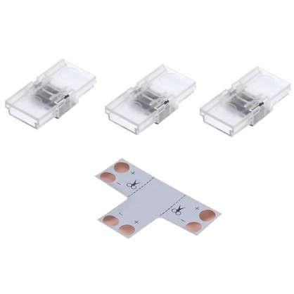 Комплект для светодиодной ленты: Т-образный коннектор 3 клипсы 2 разъема игла 8-10 мм IP20 цена