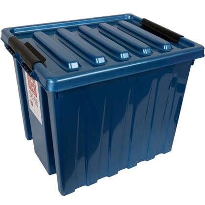 Контейнер Rox Box с крышкой с роликами 39x40x50 см 50 л пластик цвет синий цена
