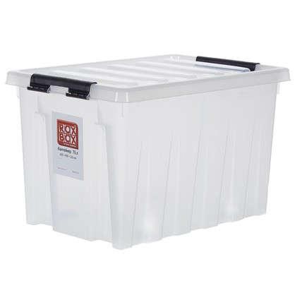 Контейнер Rox Box с крышкой с роликами 40x36x60 см 70 л пластик цвет прозрачный