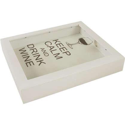 Копилка для пробок Keep calm and Drink wine 22х26 цвет белый цена