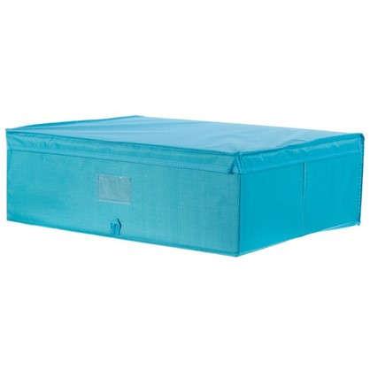 Короб Spaceo с крышкой 55х18x44 см нетканный материал цвет голубой