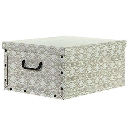 Коробка с ручками 39x50x24 картон золотой узор цена