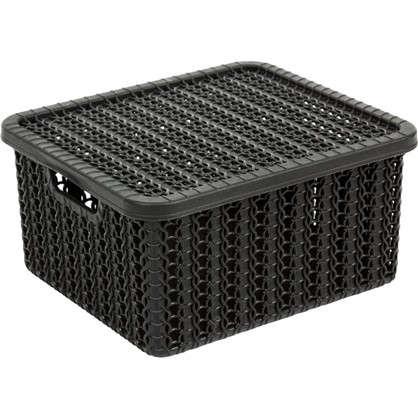 Коробка Вязание 1.5 л с крышкой цвет черный цена
