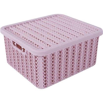 Коробка Вязание 1.5 л с крышкой цвет роза