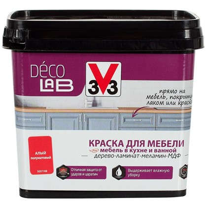 Краска для мебели V33 Decolab цвет алый 0.75 л