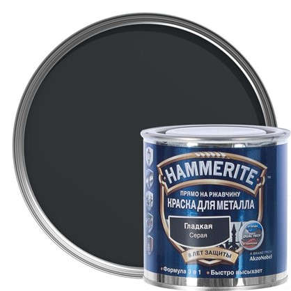 Краска гладкая Hammerite цвет серый 0.25 л цена