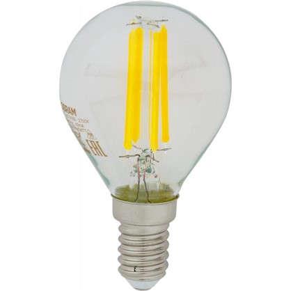 Светодиодная лампа Osram E14 220 В 5 Вт шар 3 м² свет теплый белый цена