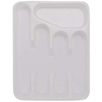 Лоток для столовых приборов раздвижной 33.5х26х4.8 см полипропилен цвет белый цена