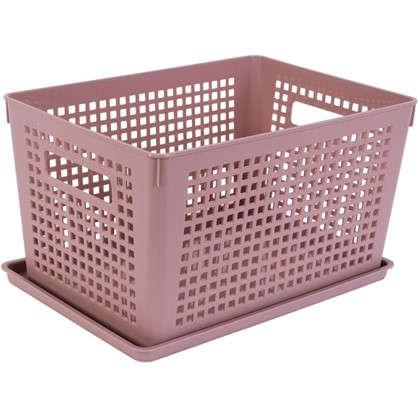 Лоток с крышкой 270х190х150 мм 6 л полипропилен цвет розовый цена