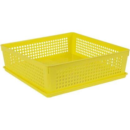 Лоток с крышкой 310х310х90 мм 7.3 л полипропилен цвет желтый