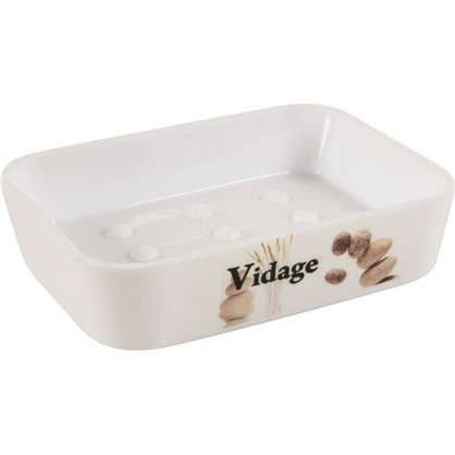 Мыльница настольная Vidage Курумы пластик цвет белый
