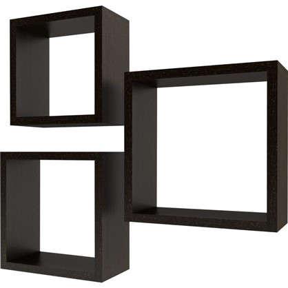 Набор мебельных полок Квадрат 30/27/24 см цвет венге 3 шт.