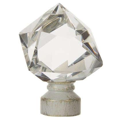 Наконечник Куб стекло 7 см цвет белый антик цена
