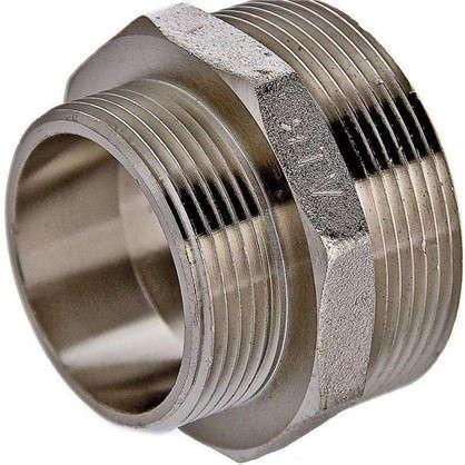 Ниппель переходной Valtec наружная-наружная резьба 1 1/4х1/2 никелированная латунь