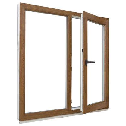 Окно ПВХ двустворчатое 120х100 см глухое/поворотное правое цвет золотой дуб