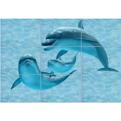 Панно Лагуна Дельфины 74.7х109.2 см цвет голубой цена