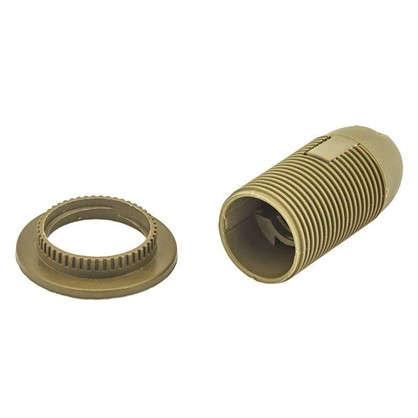 Патрон пластиковый Е14 с кольцом цвет золотой