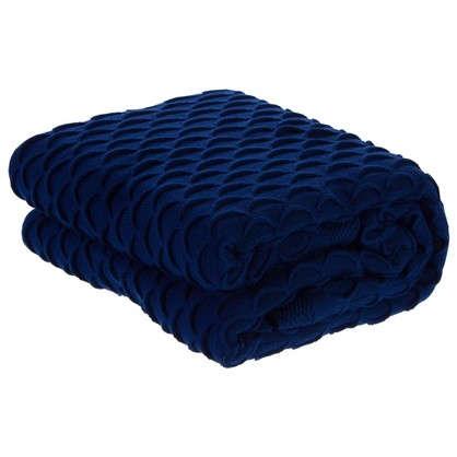 Плед с крупной вязкой 180х210 см цвет синий